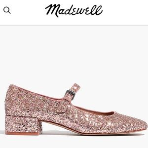 Madewell Pink Glitter Leather Delilah Mary Janes